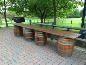 wine barrel with farm table top